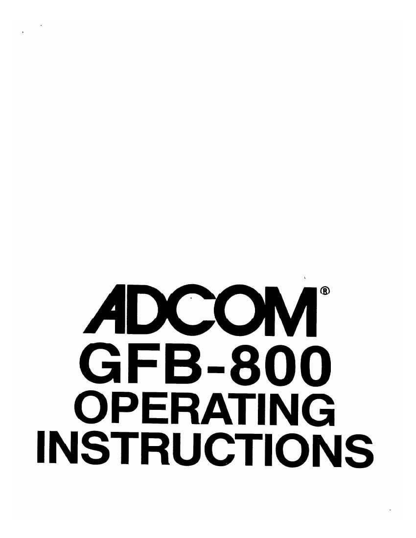 Adcom GFB 800 Owners Manual