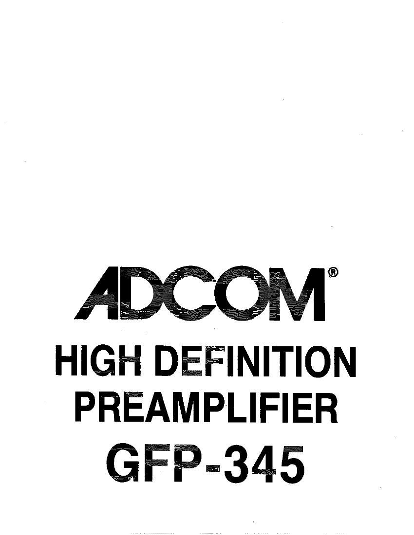 Adcom GFP 345 Owners Manual