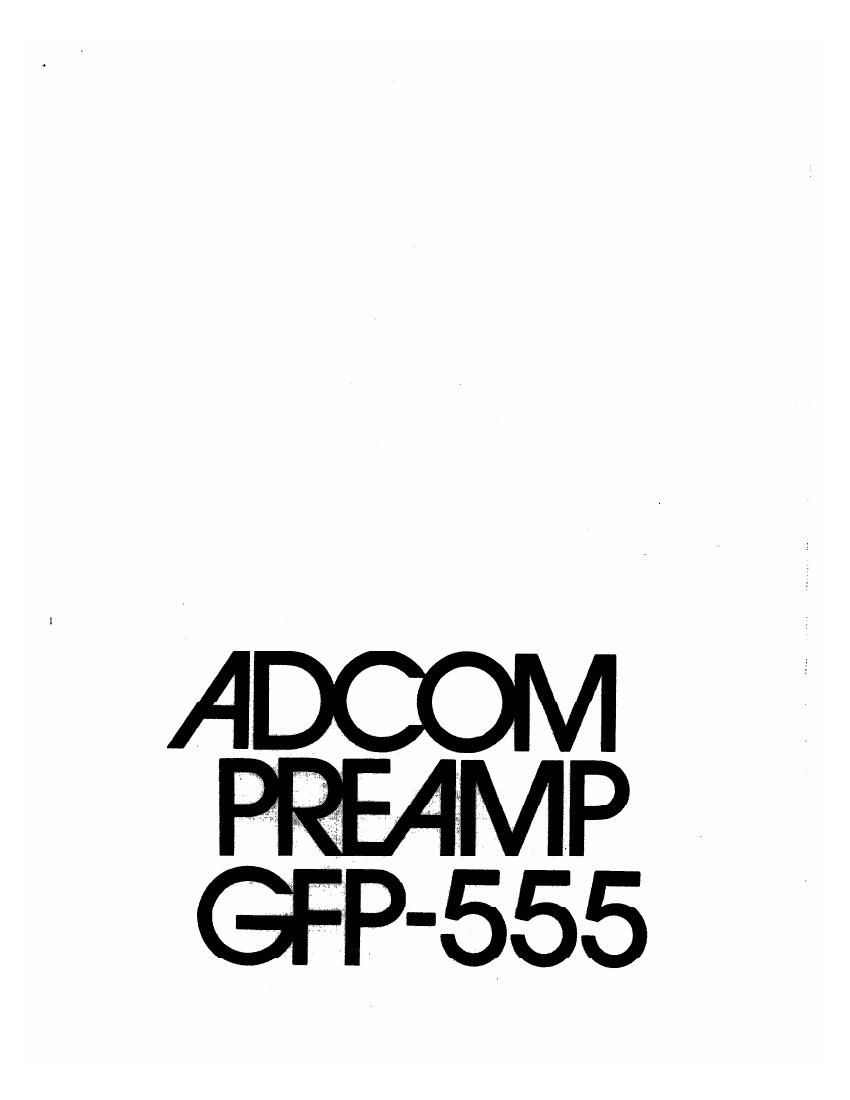 Adcom GFP 555 Owners Manual