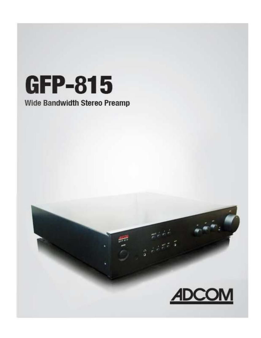 Adcom GFP 815 Owners Manual