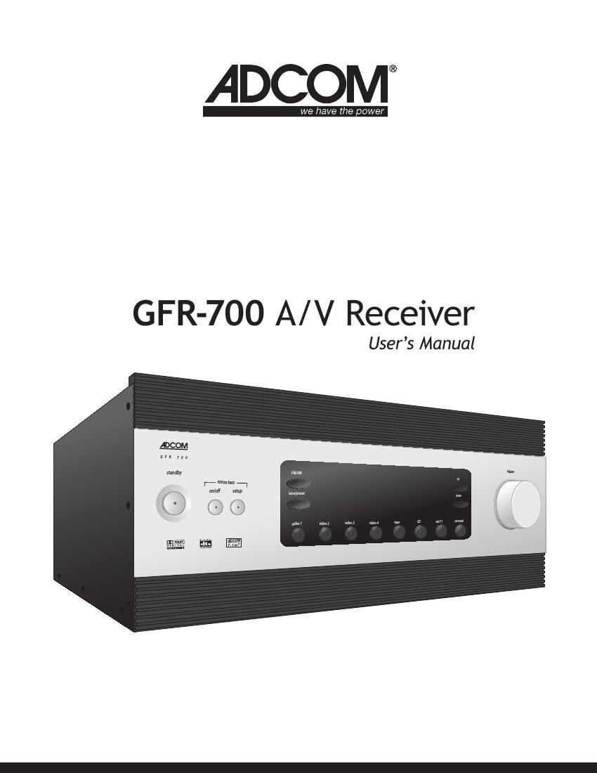 Adcom GFR 700 Owners Manual
