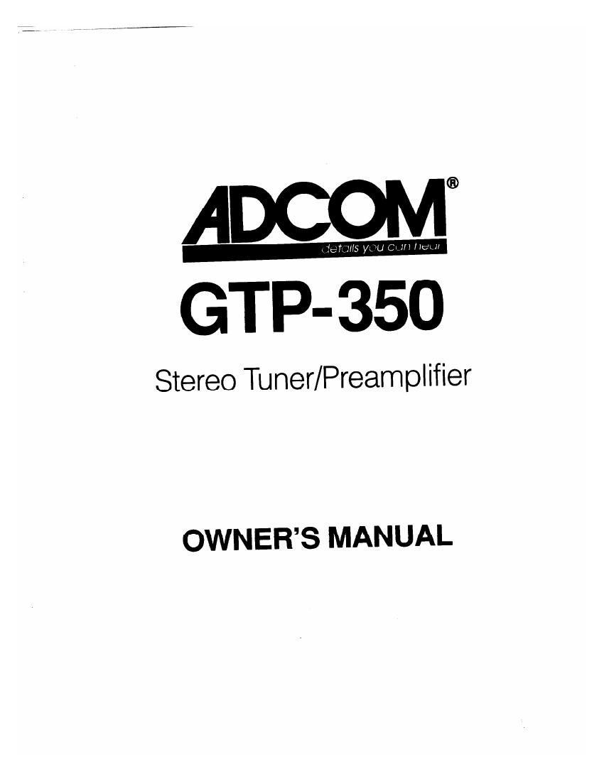 Adcom GTP 350 Owners Manual