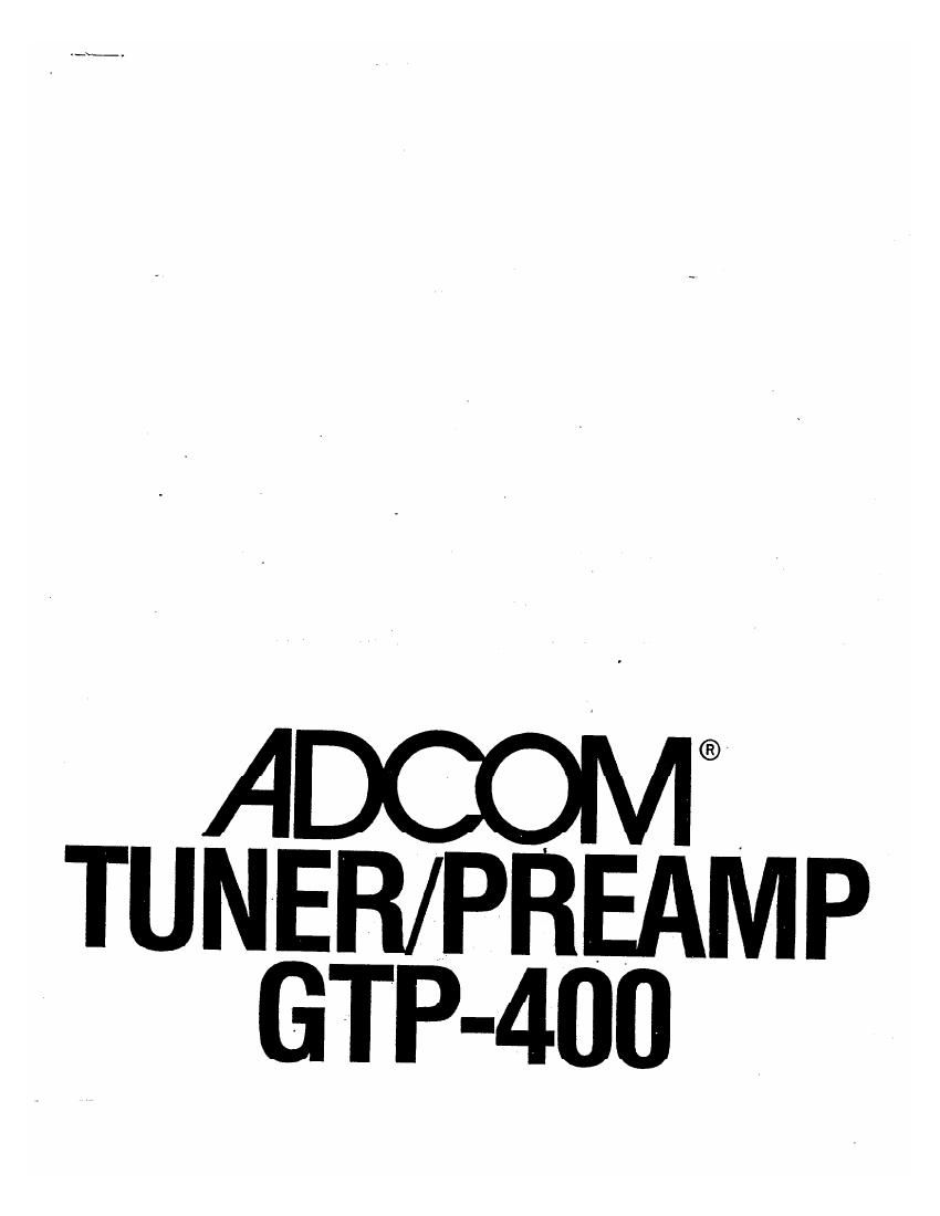 Adcom GTP 400 Owners Manual