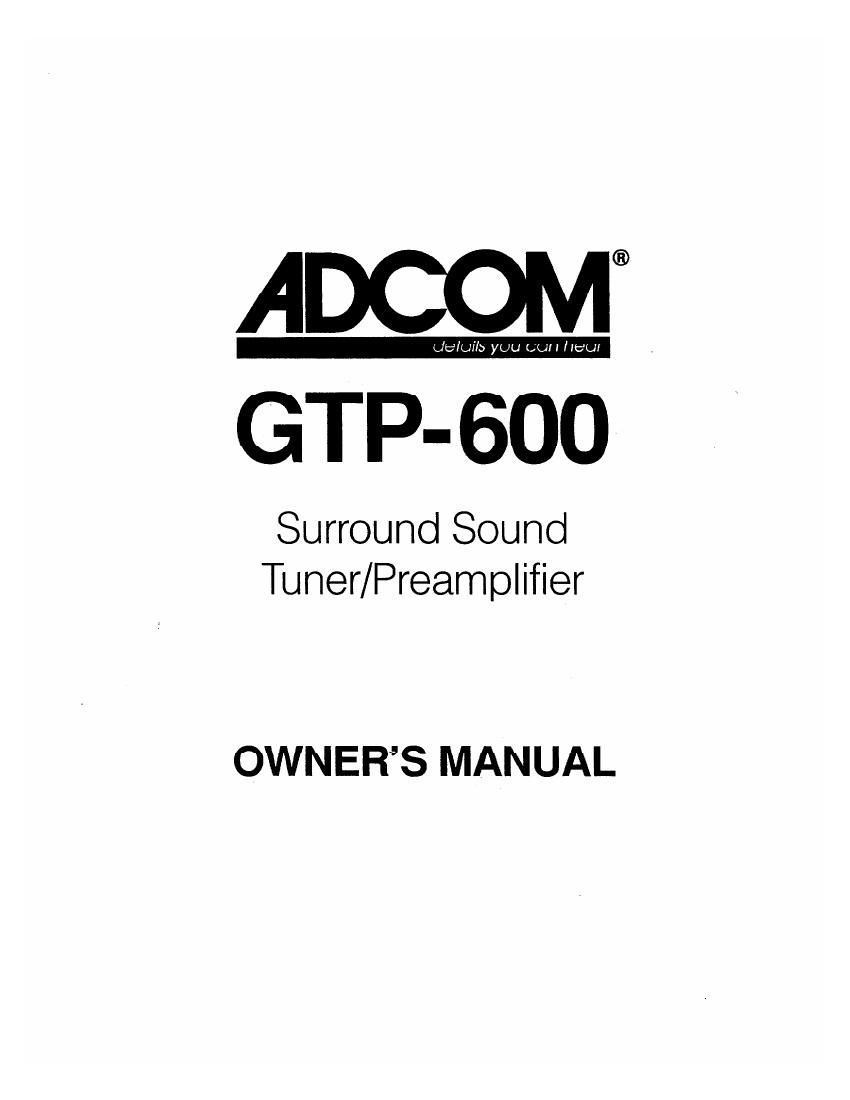Adcom GTP 600 Owners Manual
