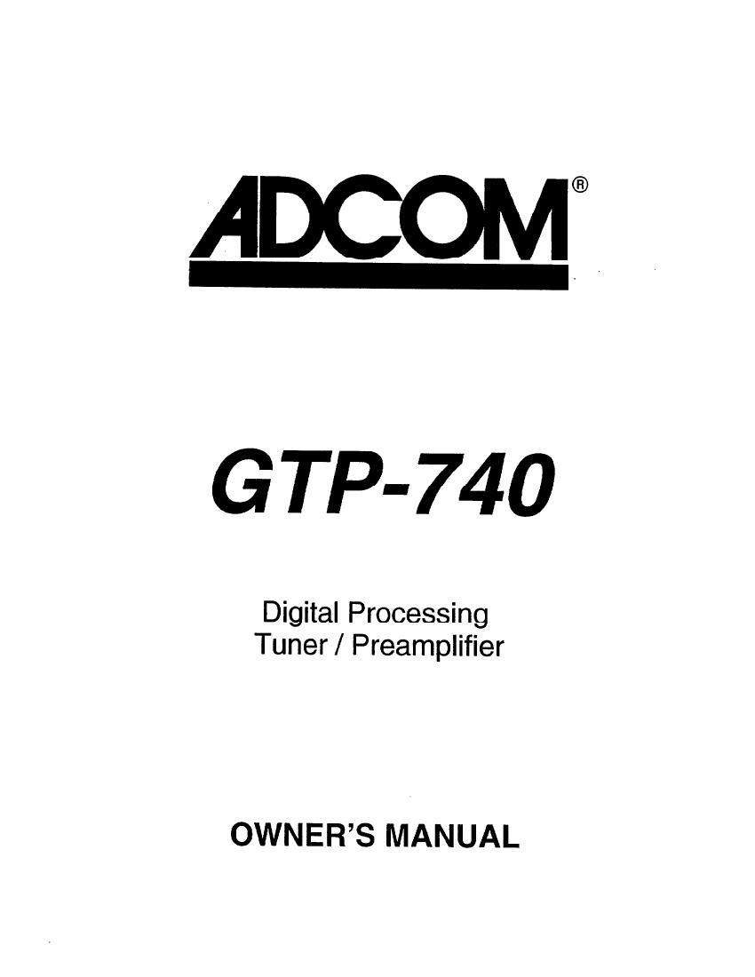 Adcom GTP 740 Owners Manual