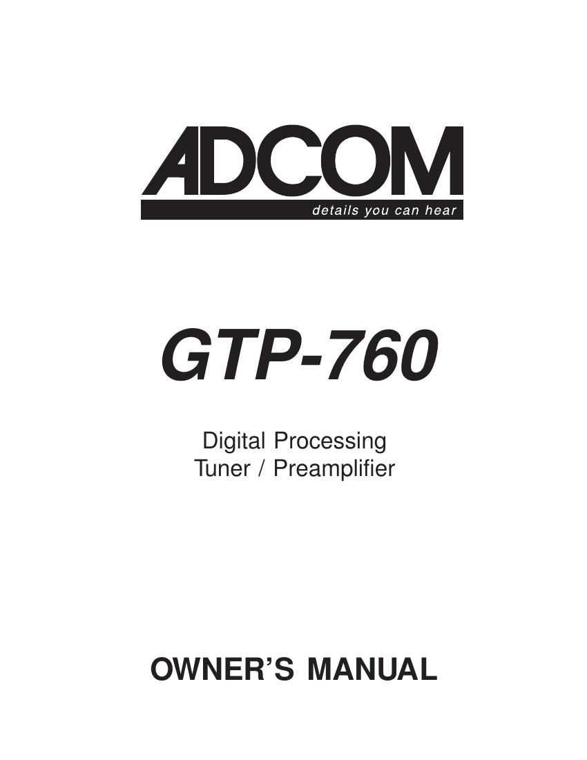 Adcom GTP 760 Owners Manual