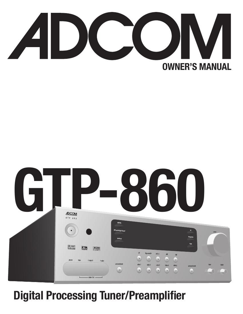Adcom GTP 860 Owners Manual