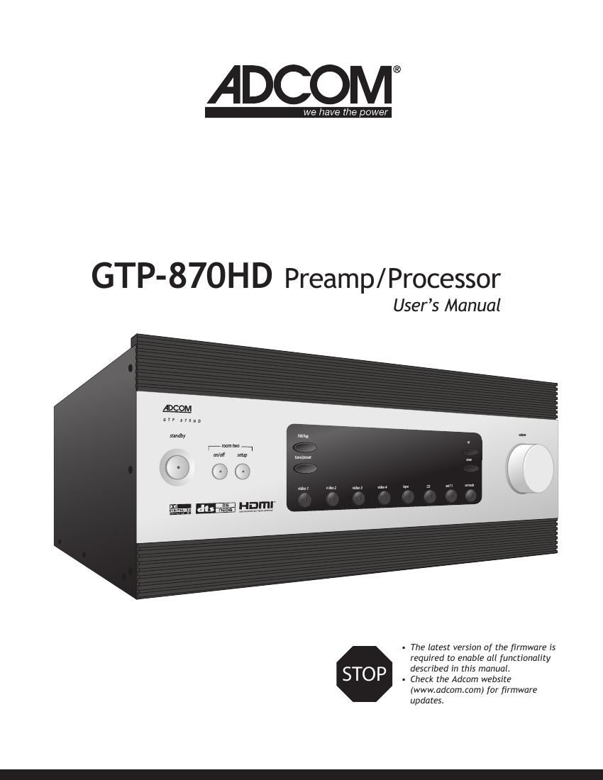 Adcom GTP 870 HD Owners Manual