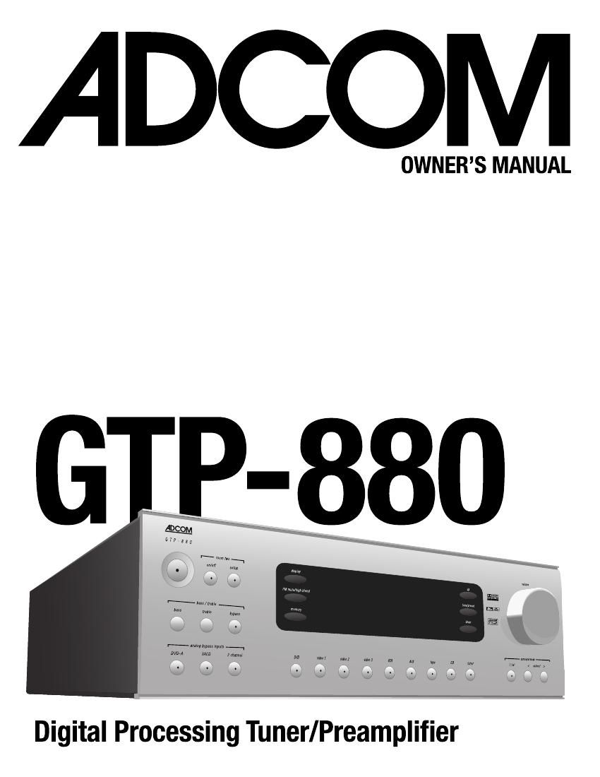 Adcom GTP 880 Owners Manual
