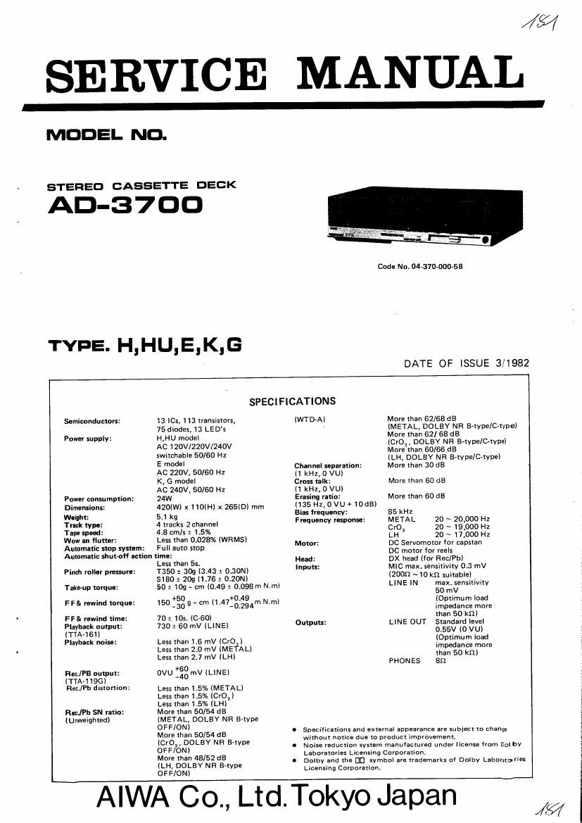 Aiwa AD 3700 Service Manual