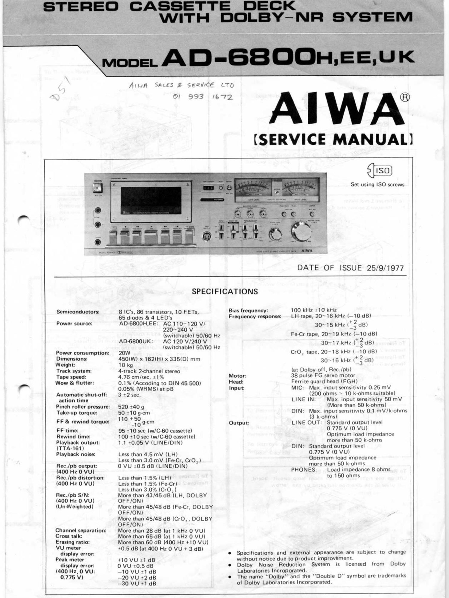 Aiwa AD 6800 Service Manual