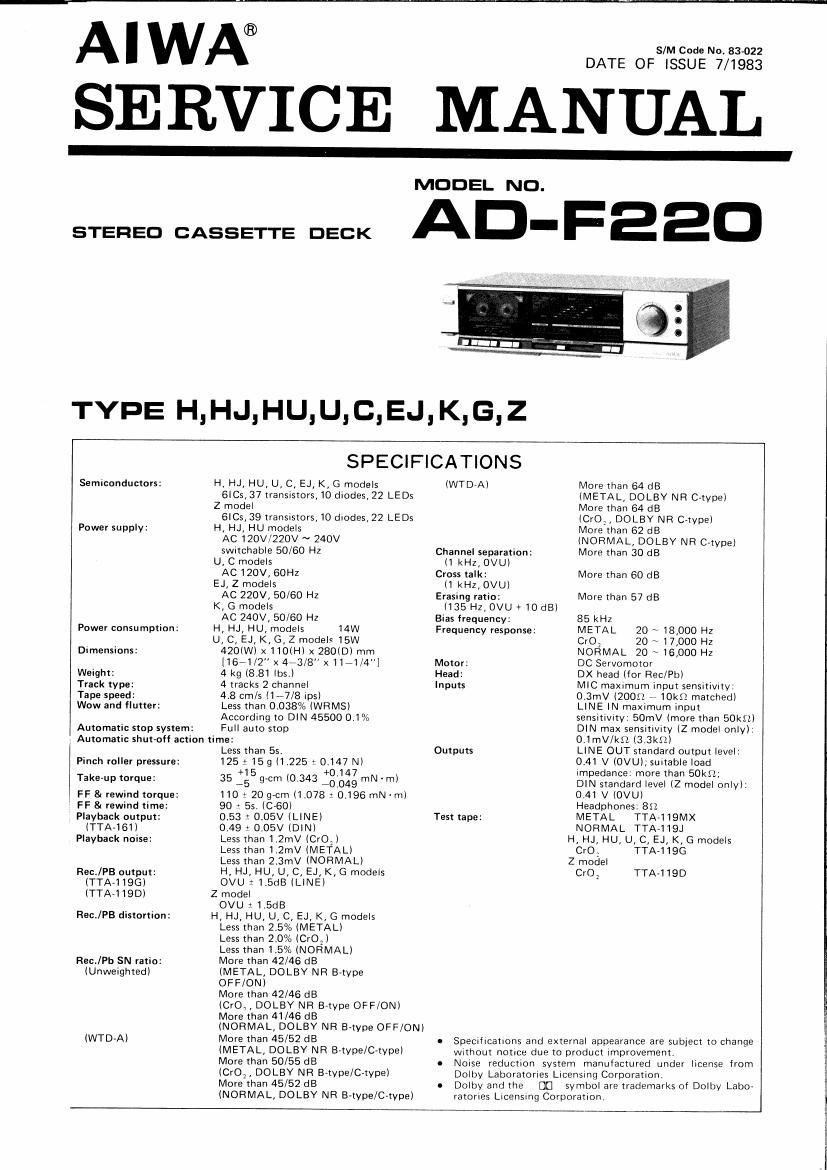 Aiwa AD F220 Service Manual