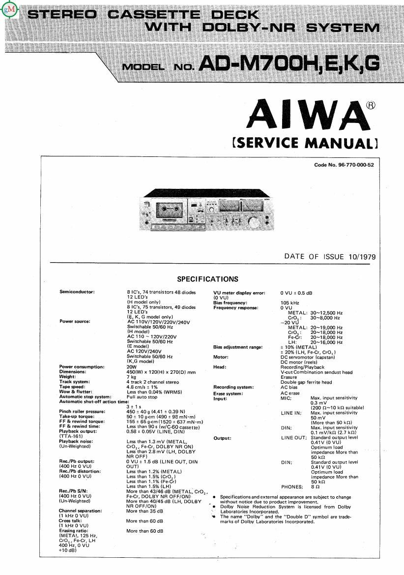 Aiwa AD M700 Service Manual