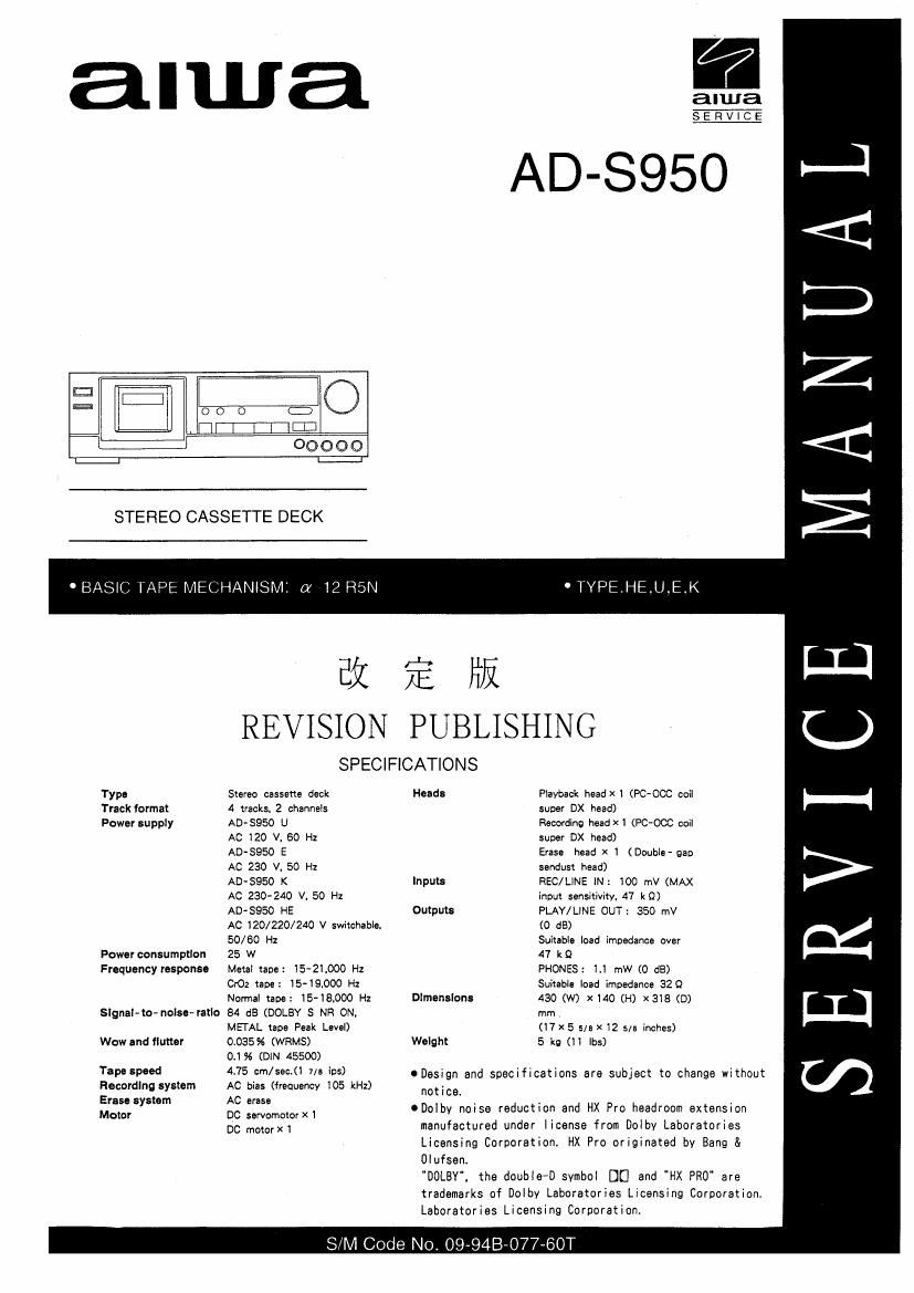 Aiwa AD S950 Service Manual