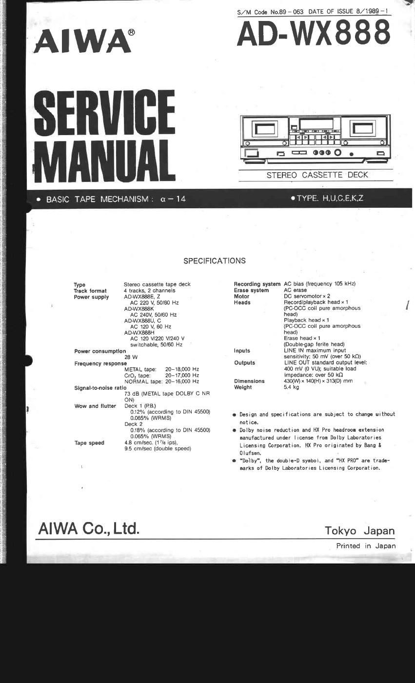 Aiwa AD WX888 Service Manual