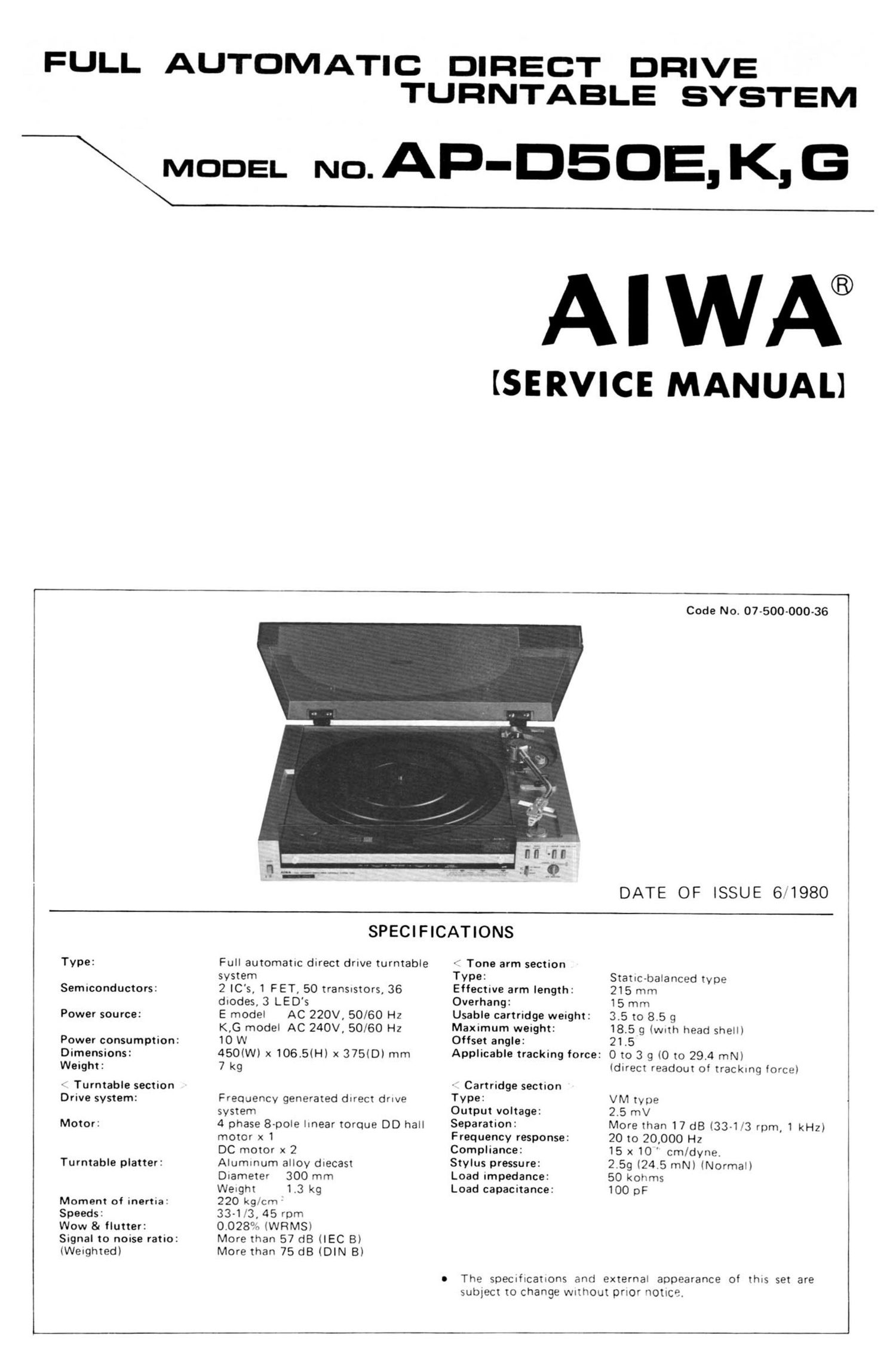 Aiwa AP D50 Service Manual