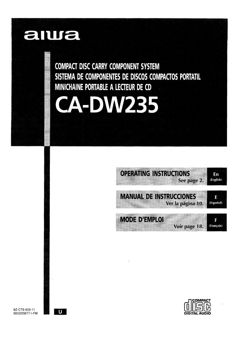 Aiwa CA DW235 Owners Manual