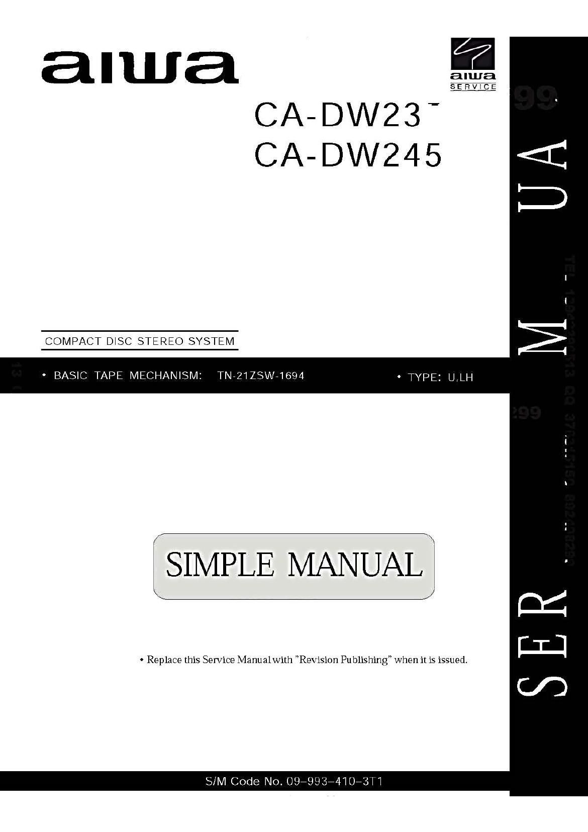 Aiwa CA DW245 Service Manual