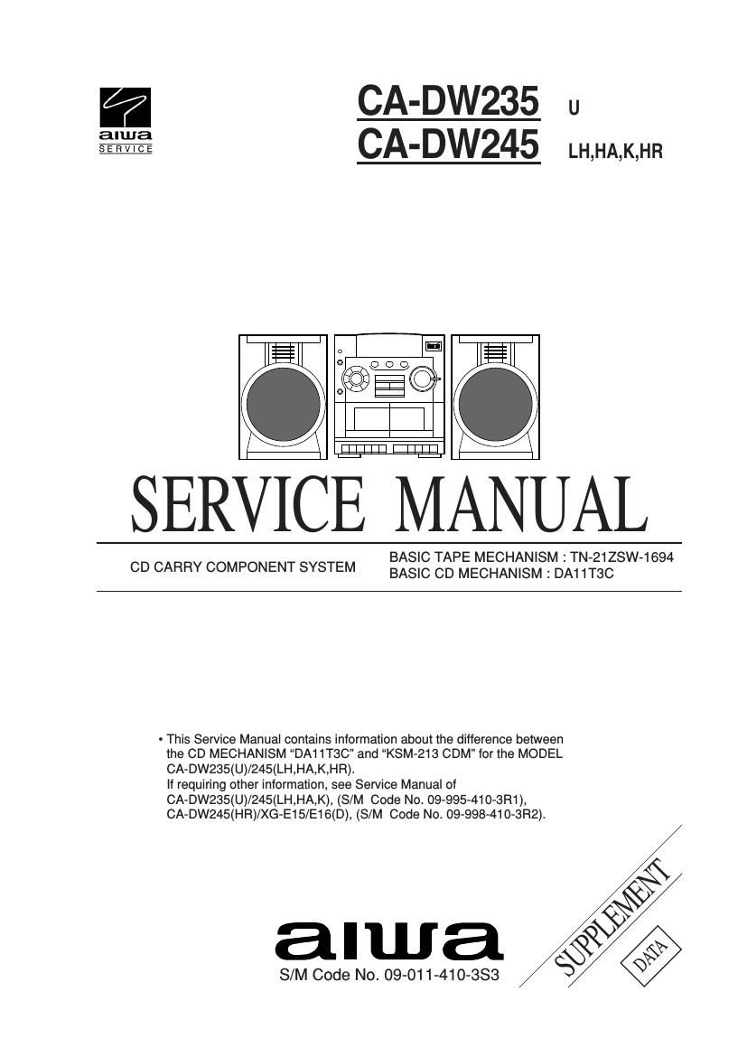 Aiwa CA DW245 Service Manual Supp