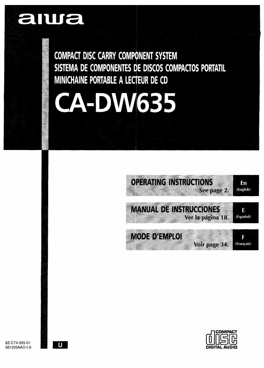 Aiwa CA DW635 Owners Manual