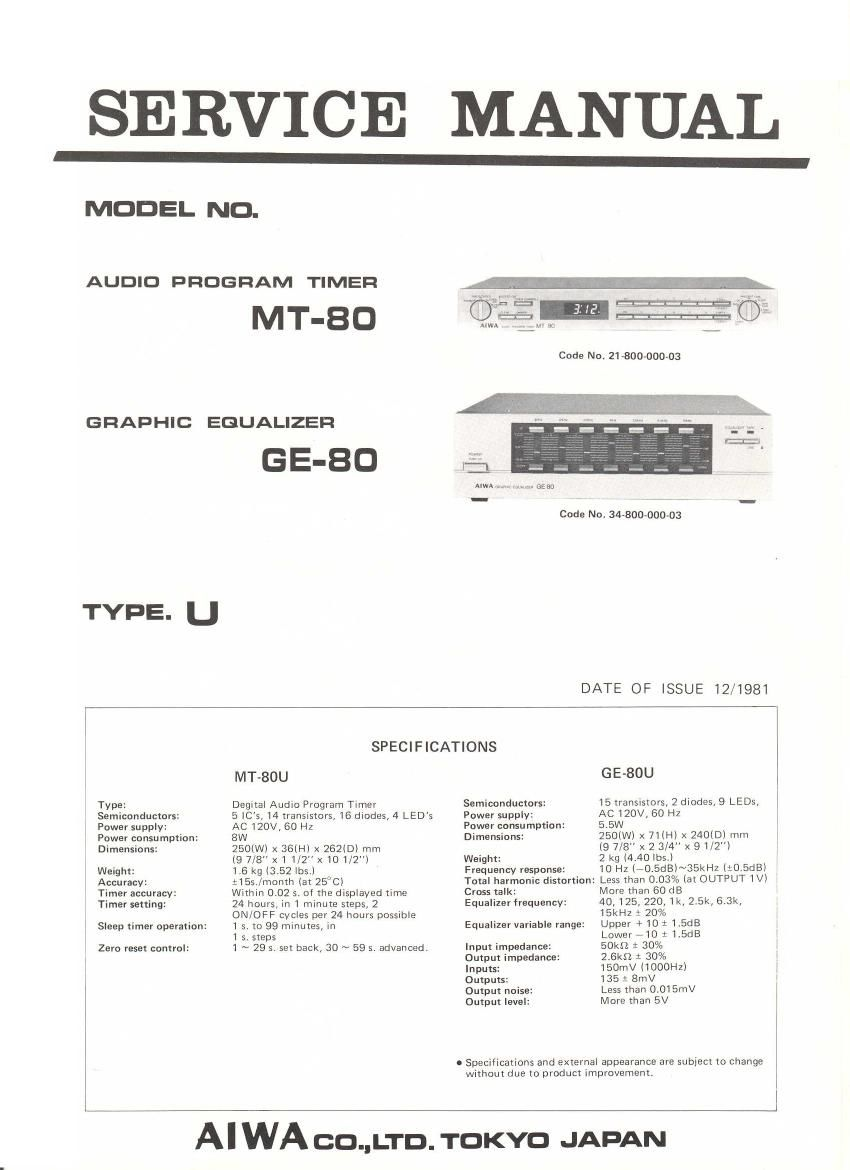 Aiwa MT 80 Service Manual