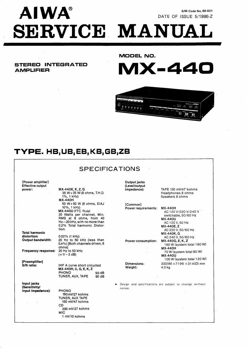 Aiwa MX 440 Service Manual