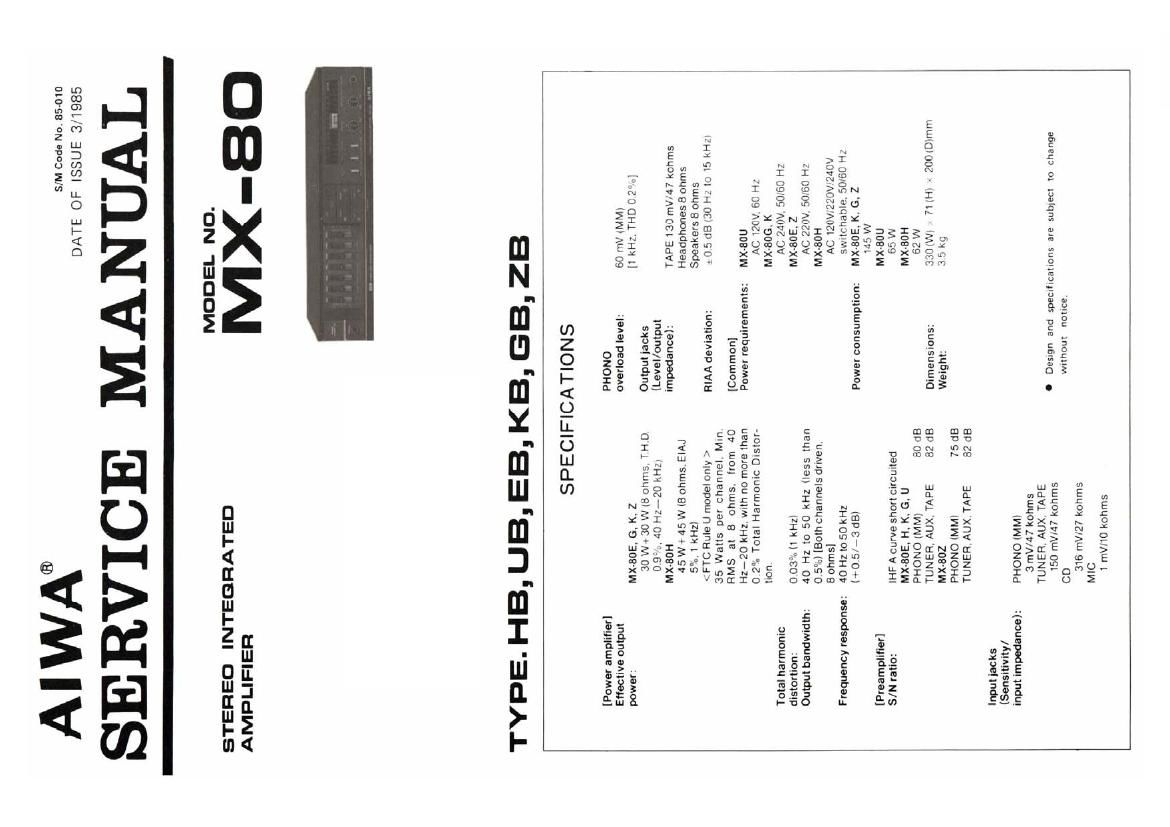 Aiwa MX 80 Service Manual