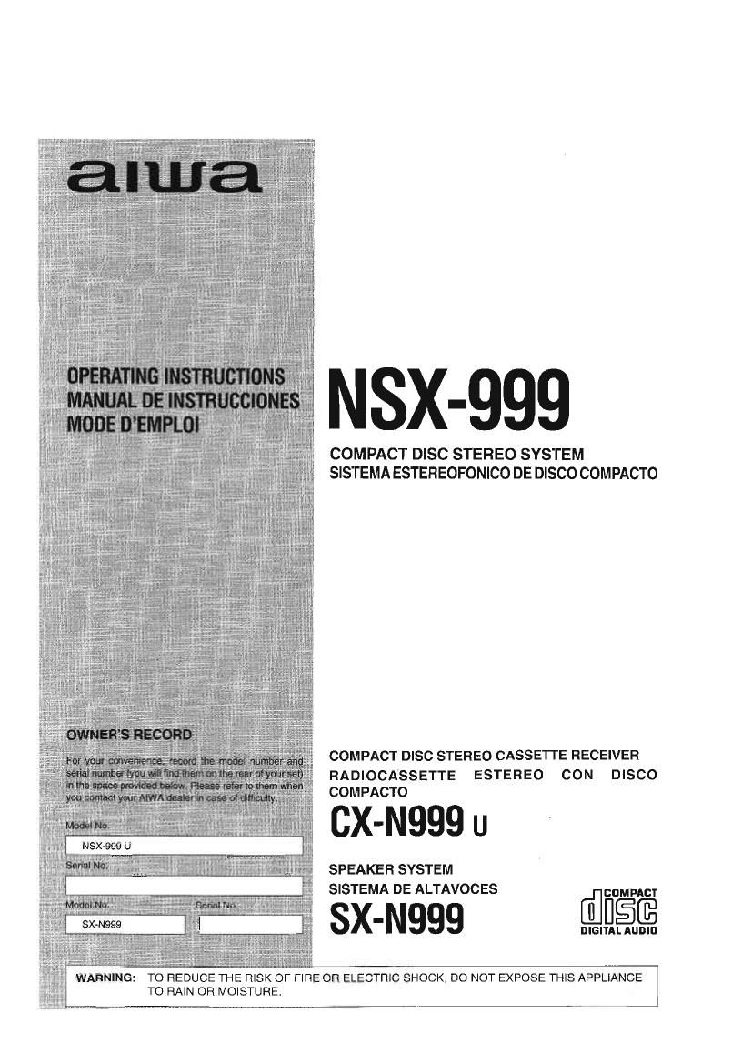 Aiwa NS X999 Owners Manual