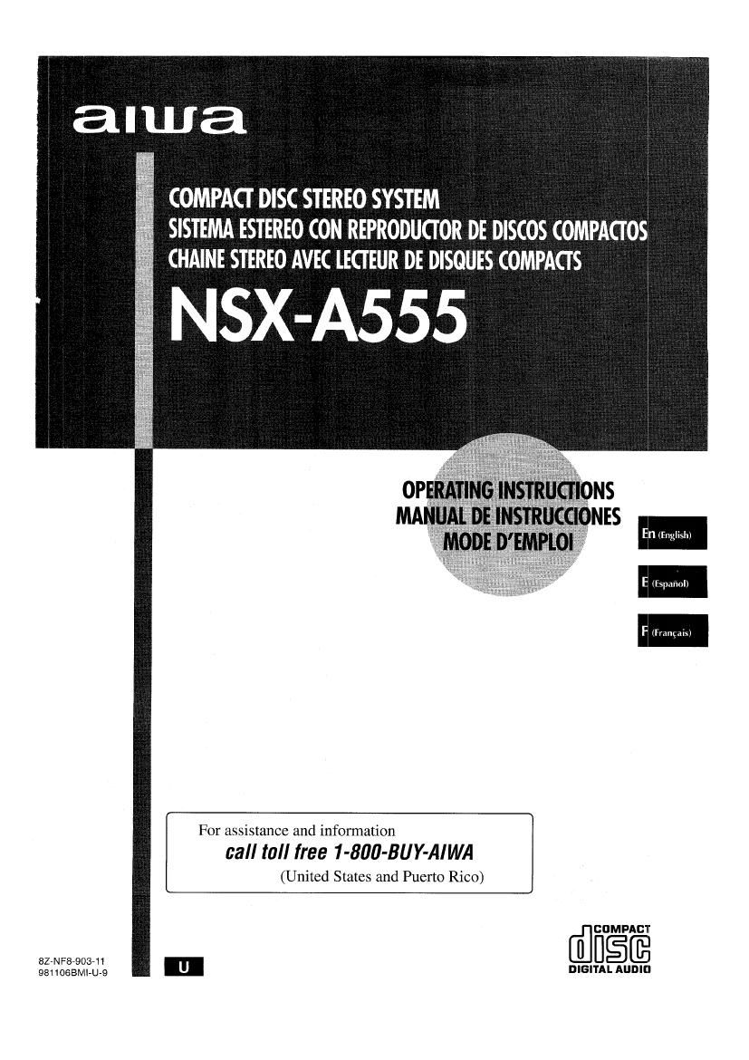 Aiwa NS XA555 Owners Manual
