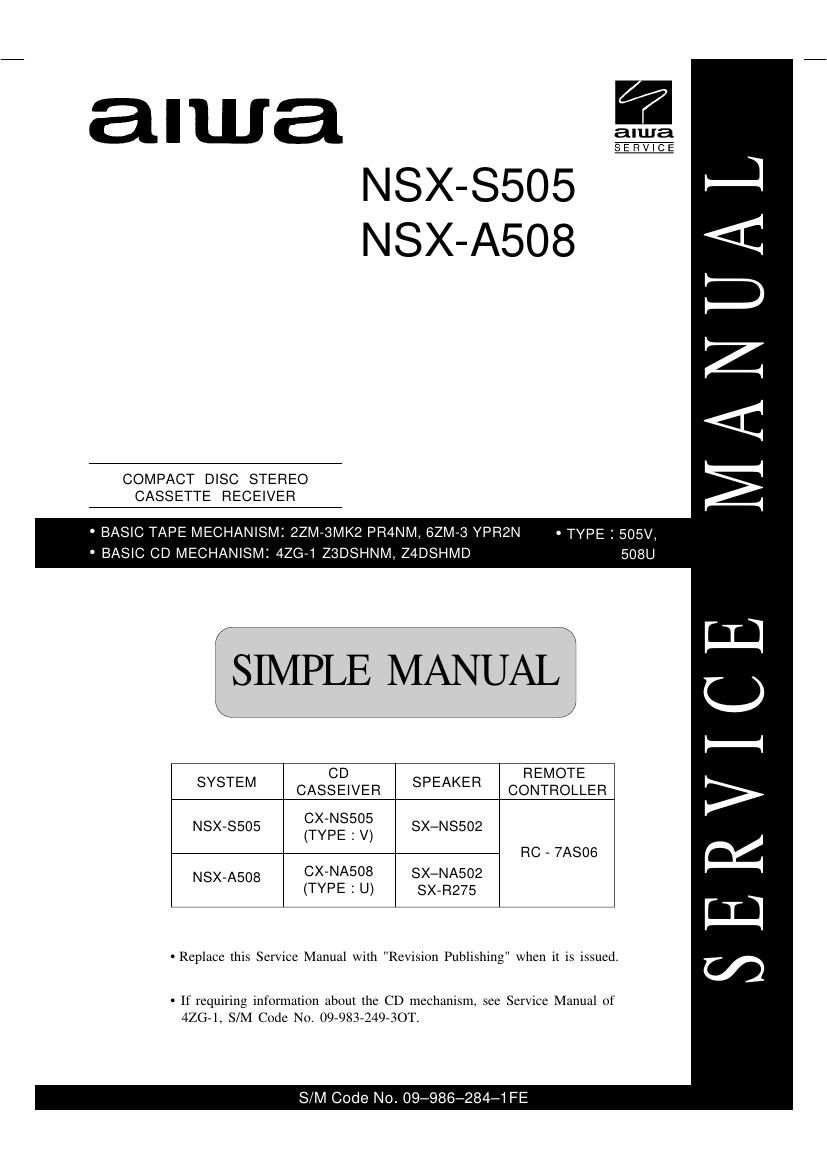 Aiwa NS XS505 Service Manual