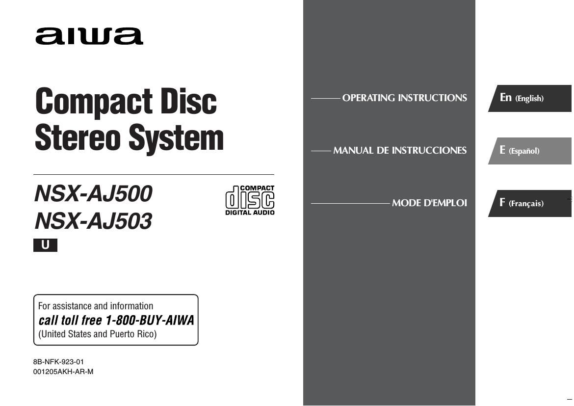 Aiwa NSX AJ503 Owners Manual