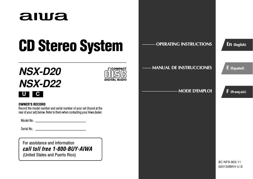Aiwa NSX D22 Owners Manual