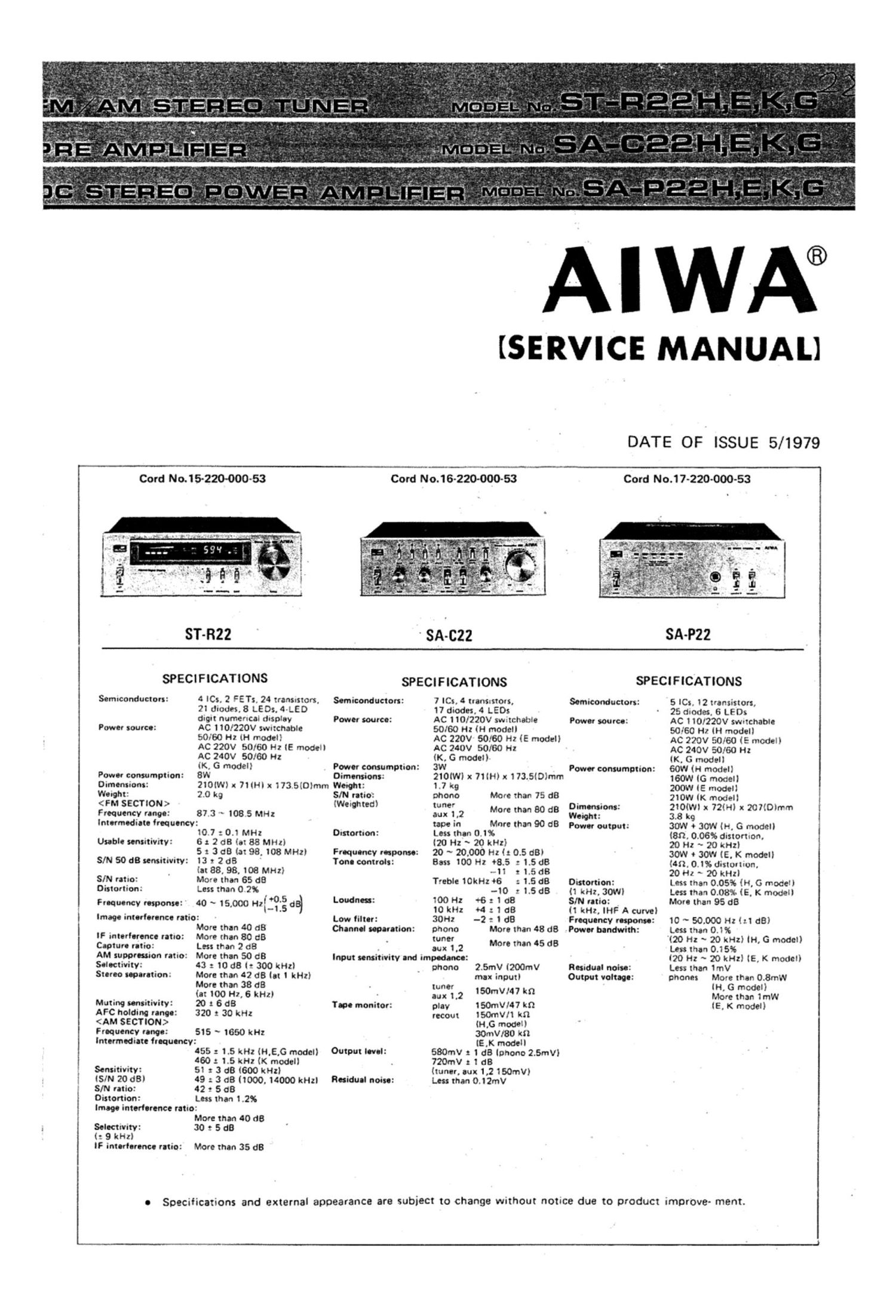Aiwa ST SA 22 Service Manual