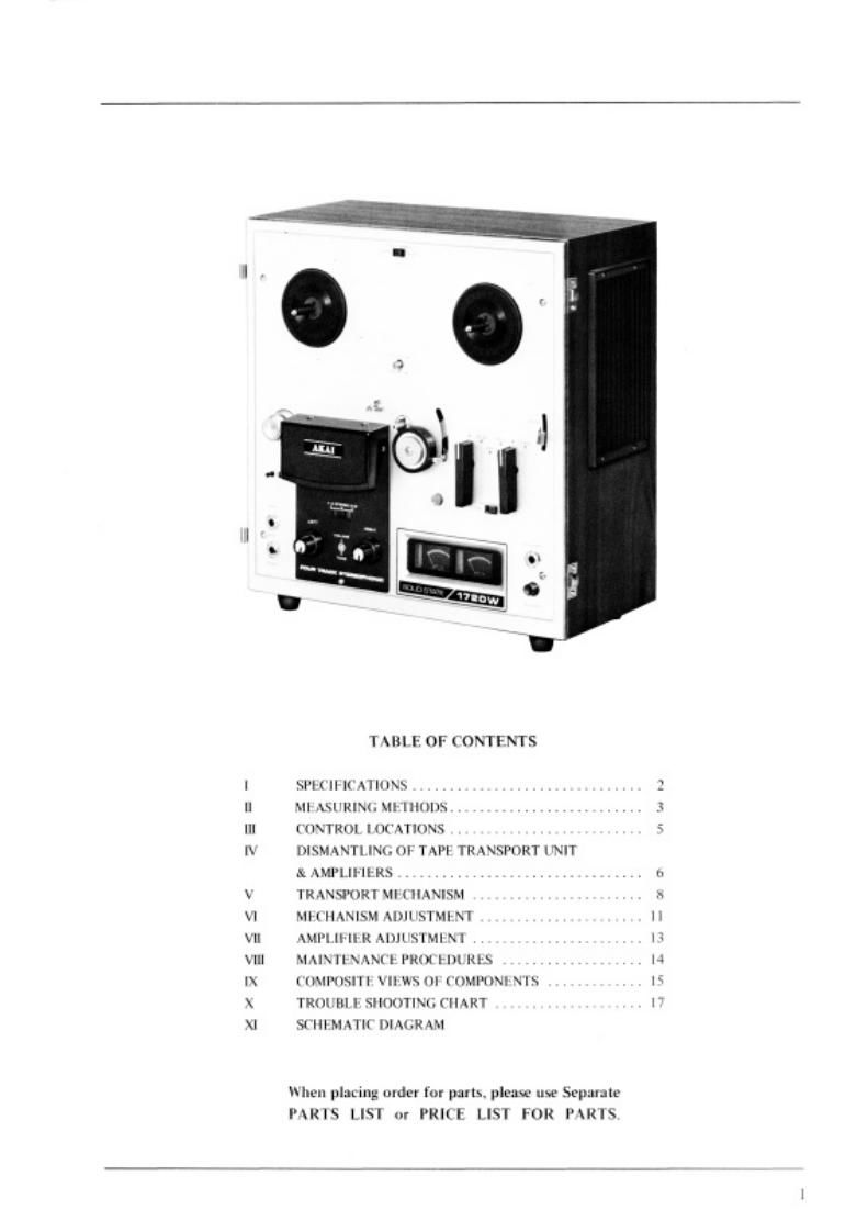 Akai 1710 1720 W Owners Manual