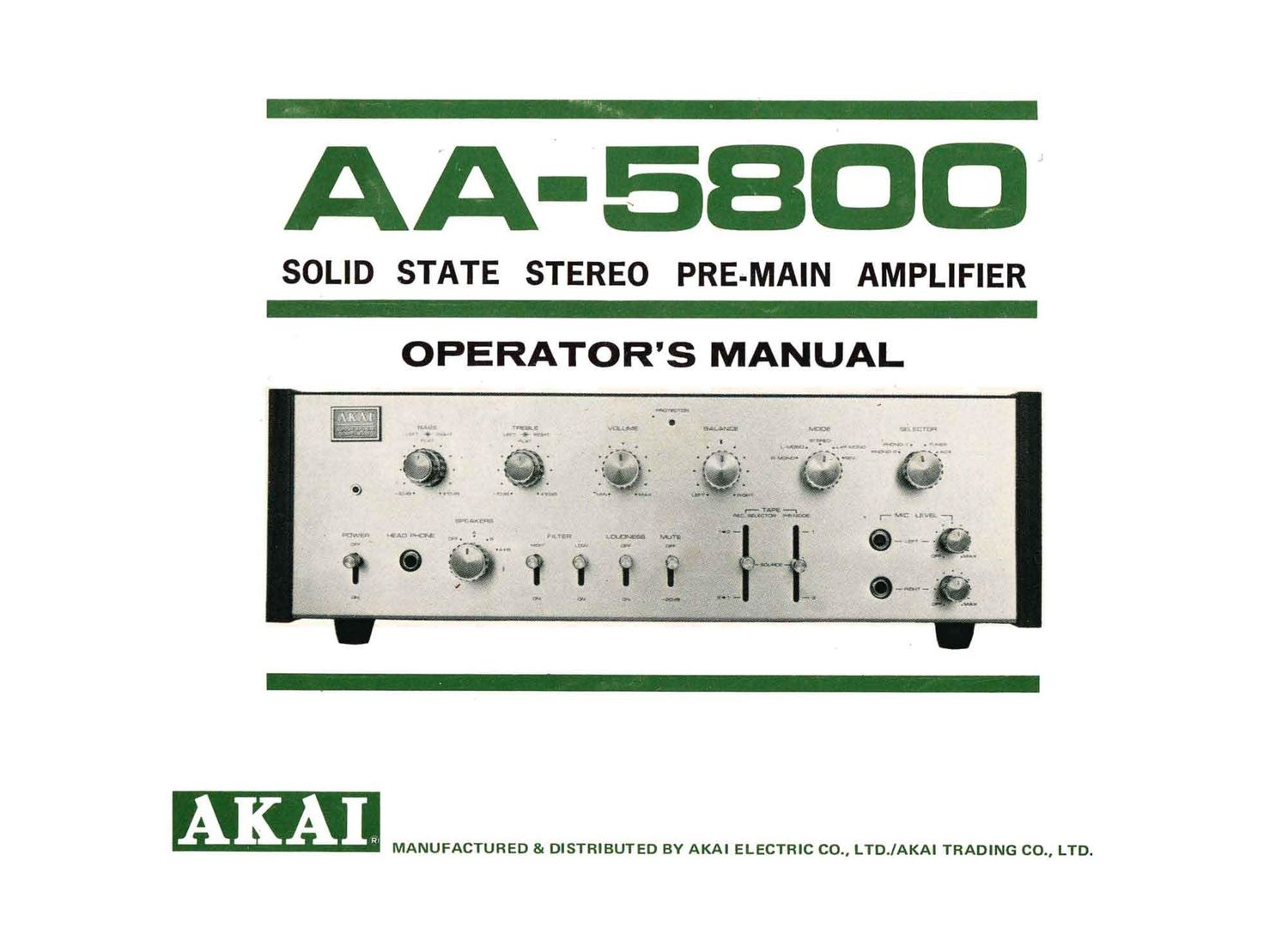 Akai AA 5800 Owners Manual