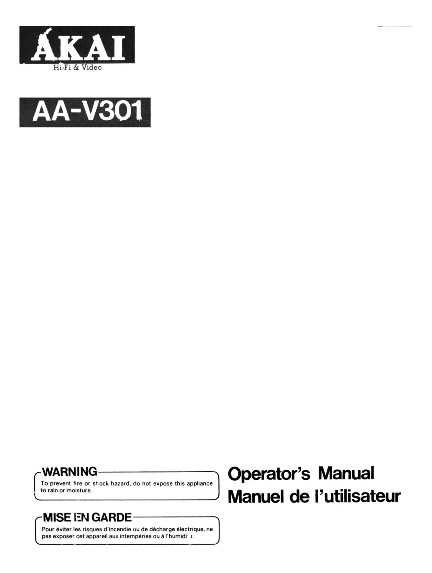 Akai AAV 301 Owners Manual