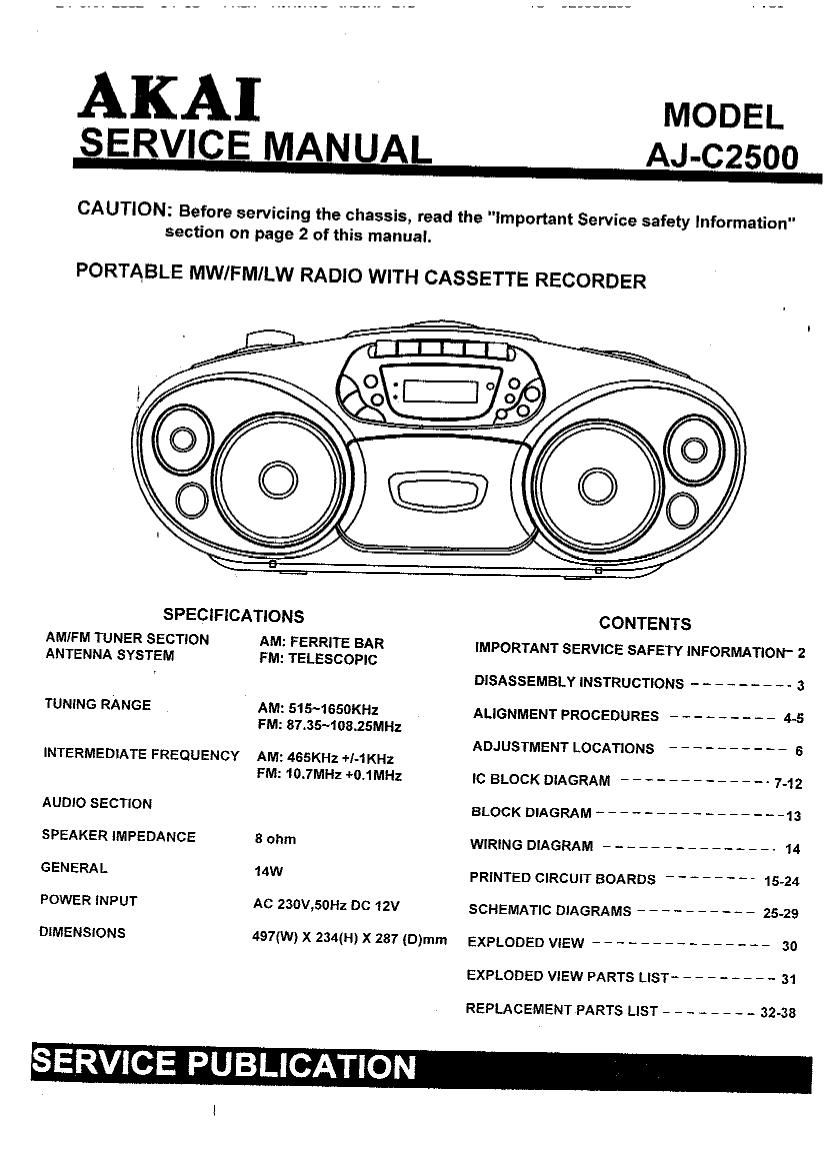 Akai AJC 2500 Service Manual