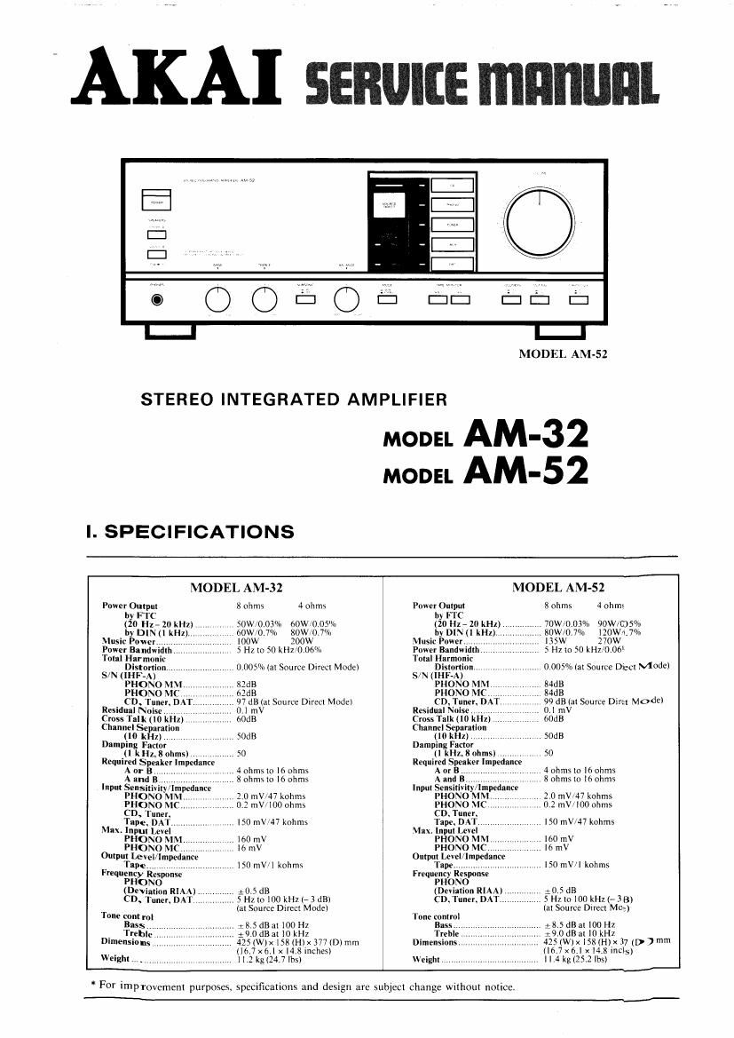 Akai AM 32 Service Manual