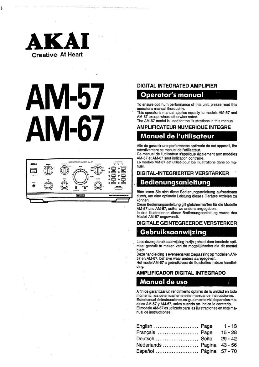 Akai AM 67 Owners Manual