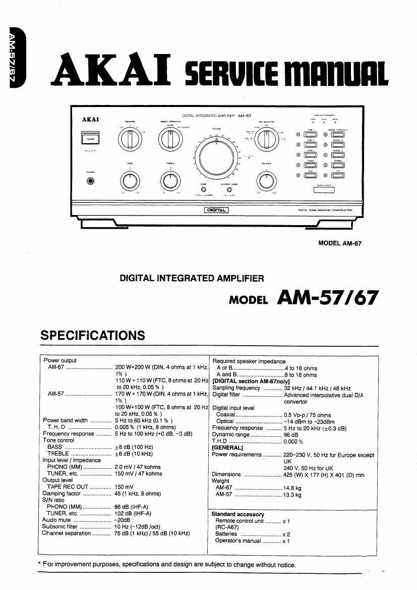 Akai AM 67 Service Manual