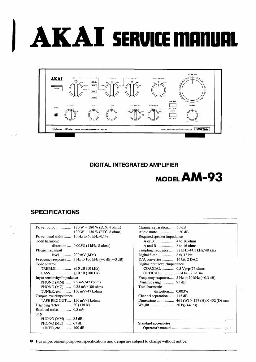Akai AM 93 Service Manual