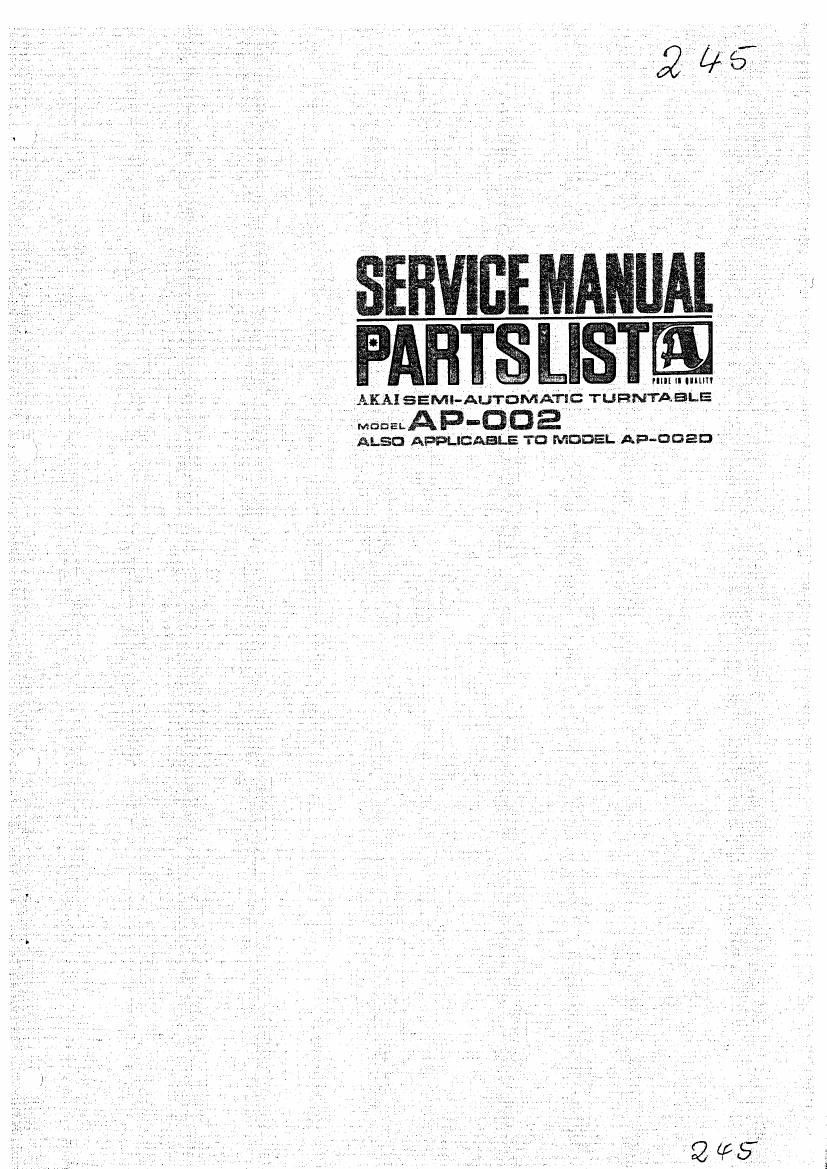 Akai AP 002 Service Manual