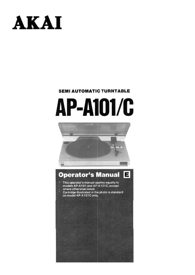 Akai AP A101C Owners Manual