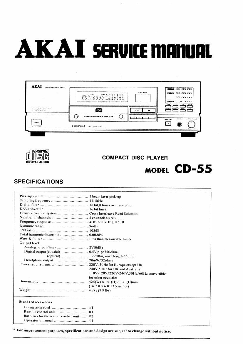 Akai CD 55 Service Manual