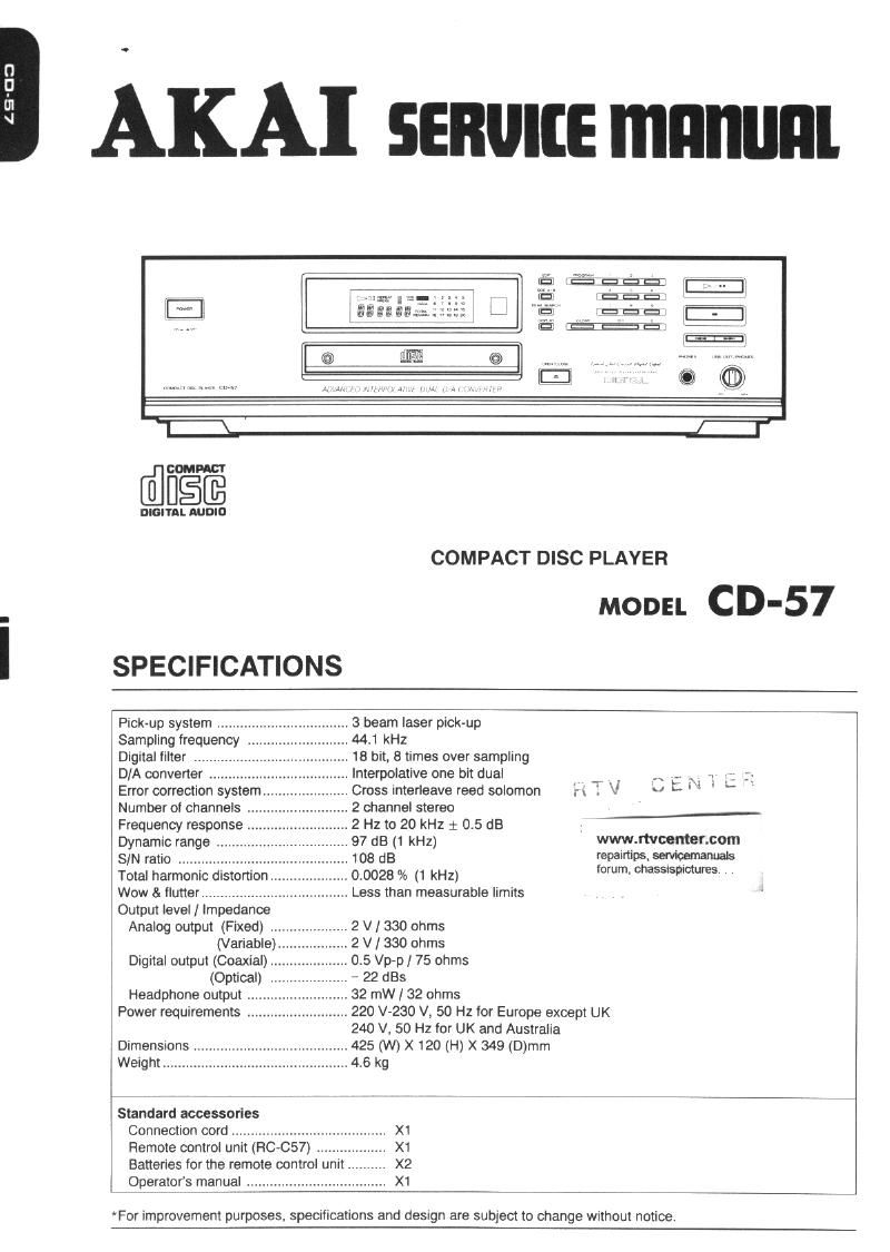 Akai CD 57 Service Manual