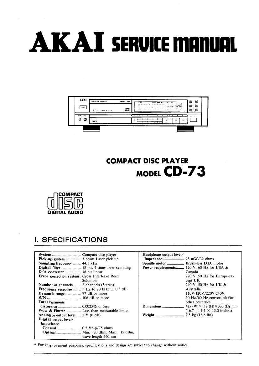 Akai CD 73 Service Manual