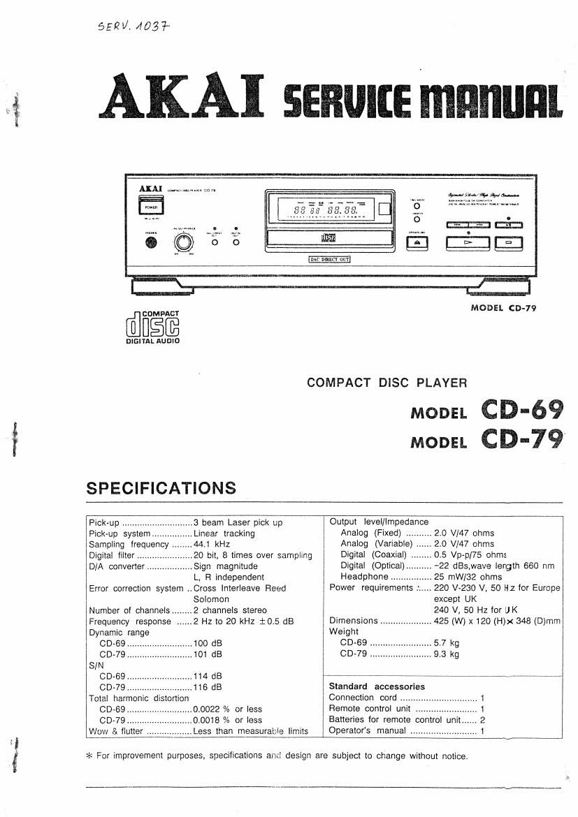 Akai CD 79 Service Manual