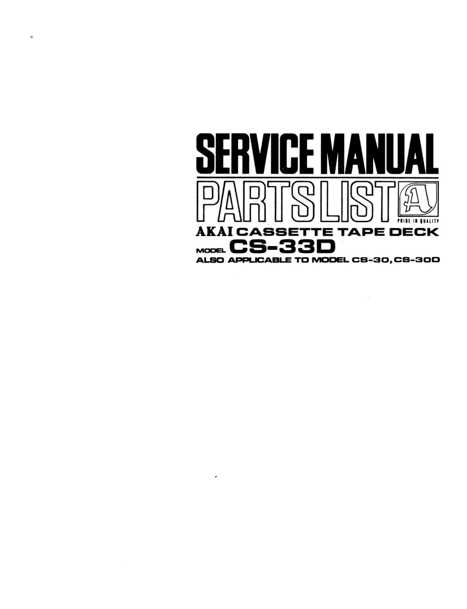 Akai CS 30 D Service Manual