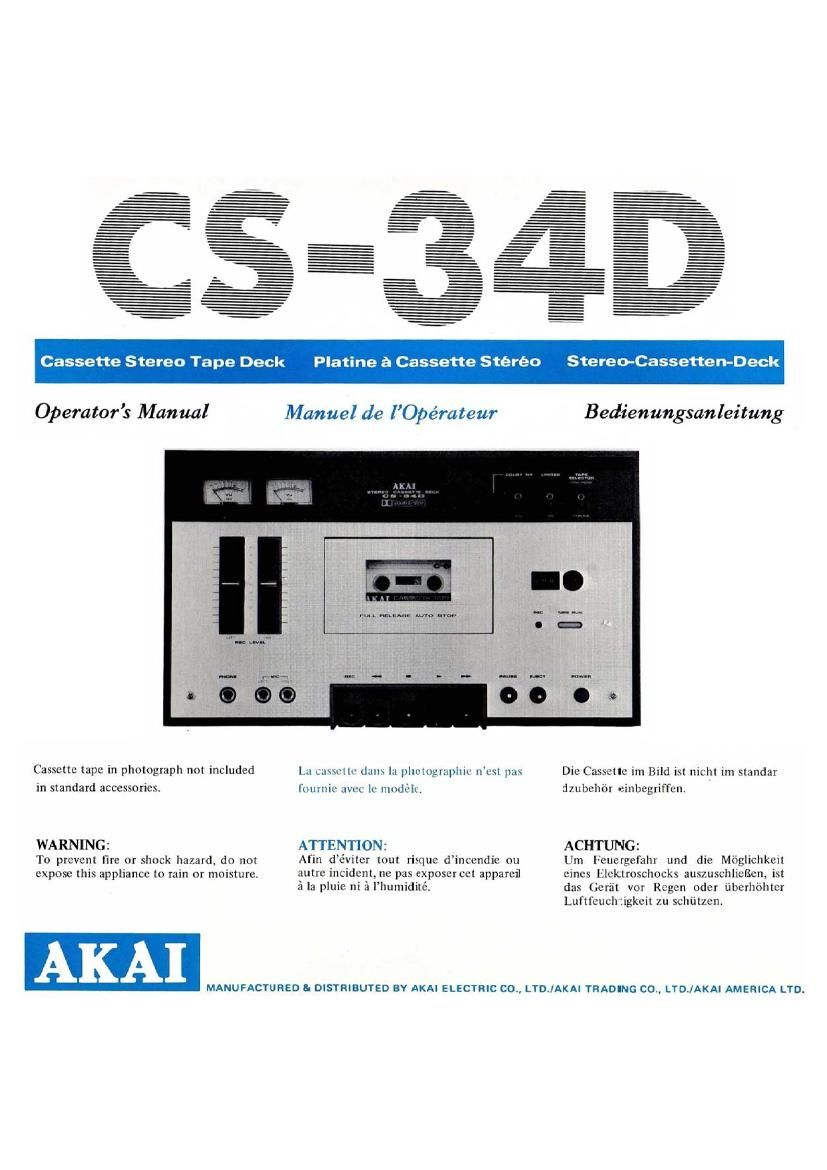 Akai CS 34D Owners Manual