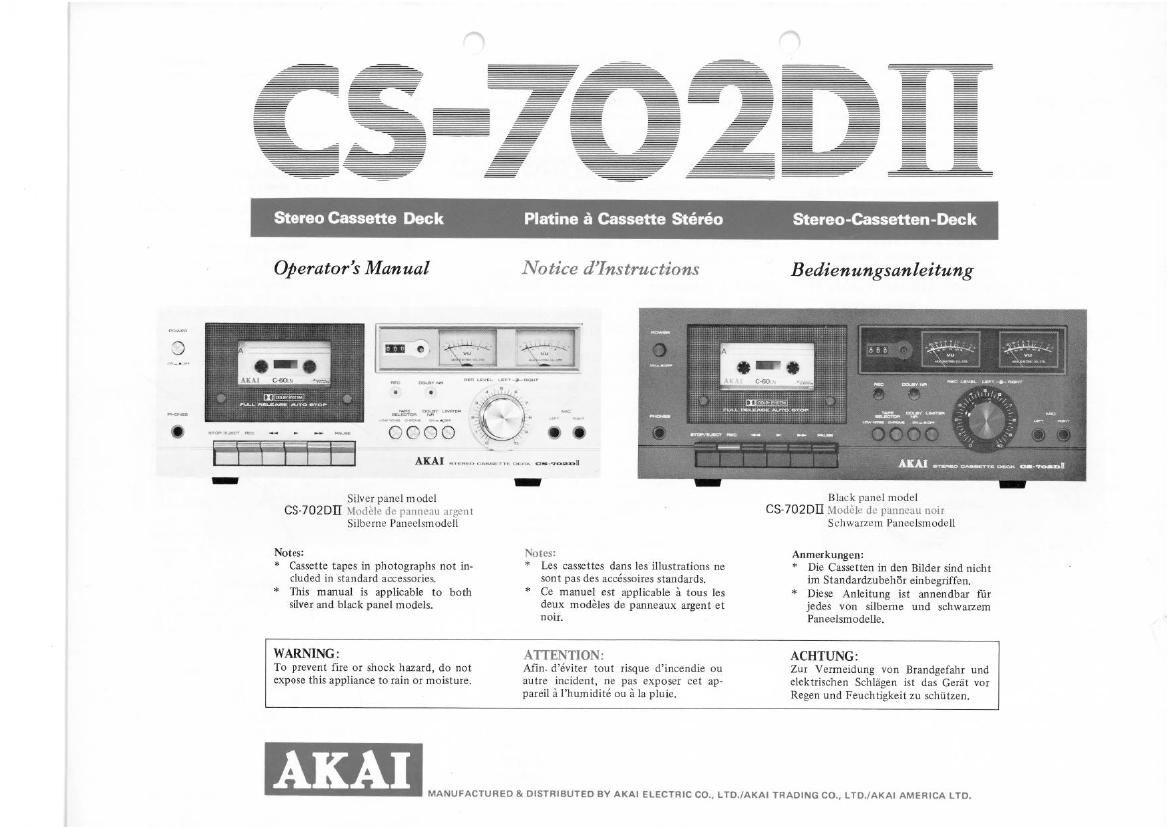 Akai CS 702 D Mk2 Owners Manual